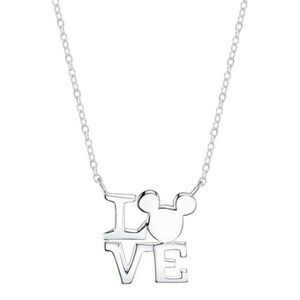 Sterling Silver Mickey Mouse LOVE Necklace